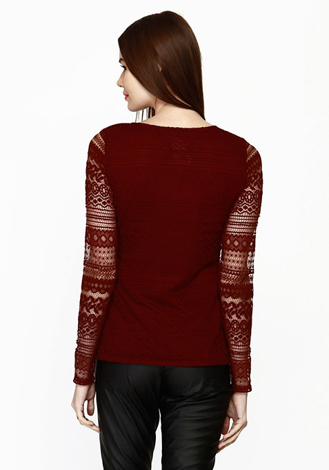 Lace Embrace Top - Burgundy