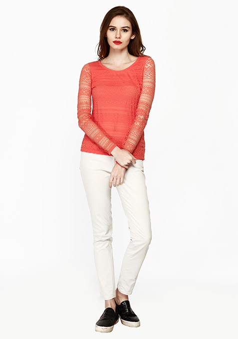 Lace Embrace Top - Coral