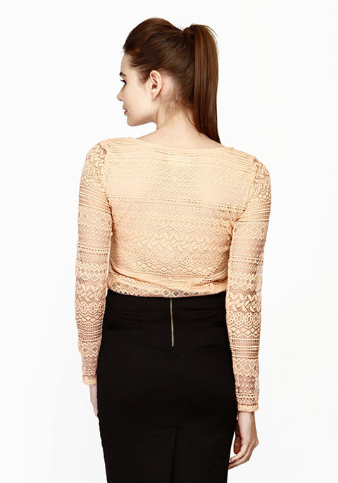 Lace Embrace Top - Nude