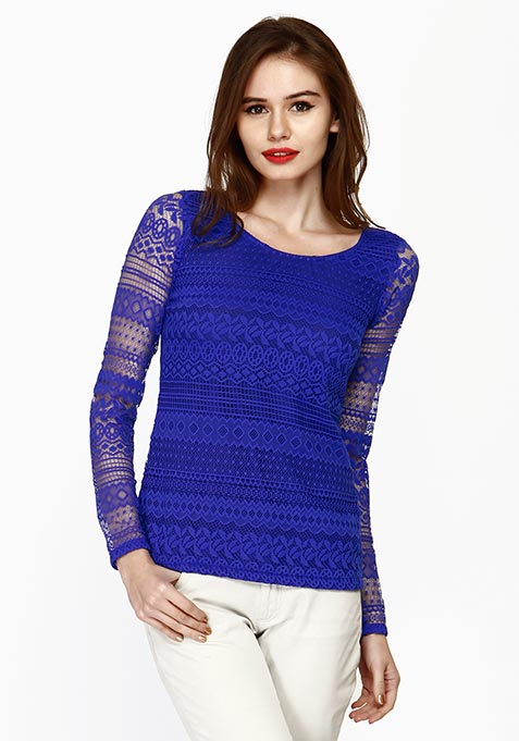 Lace Embrace Top - Blue