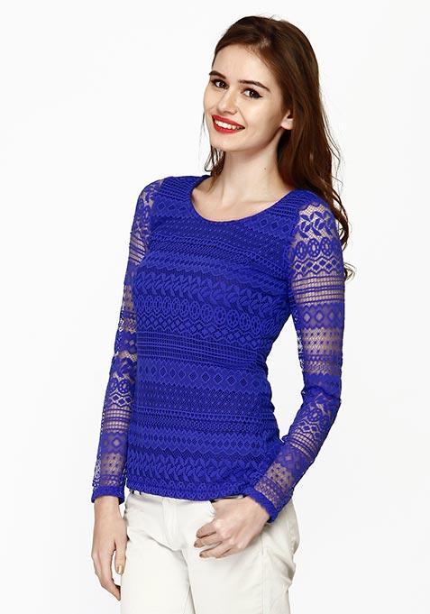 Lace Embrace Top - Blue
