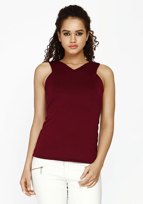 Crazy Curves Scuba Top - Oxblood