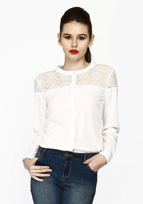 Lace Elements Shirt - White