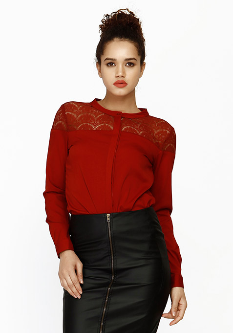 Lace Elements Shirt - Oxblood