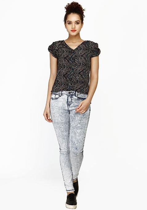 Tulip Sleeve Shirt - Aztec