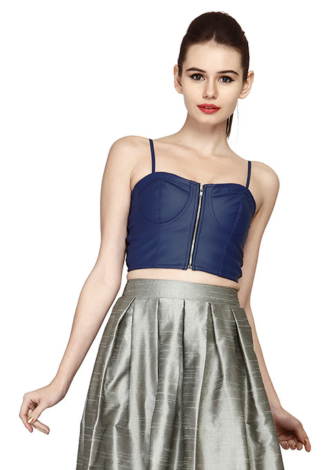 Edgy Leather Bustier Crop Top - Blue