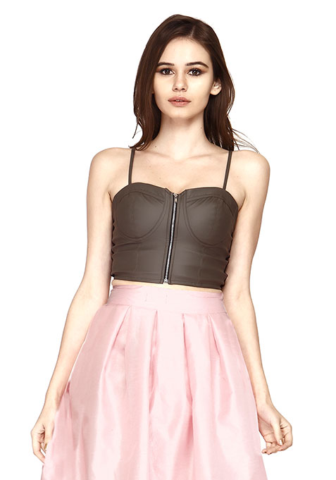 Edgy Leather Bustier Crop Top - Grey