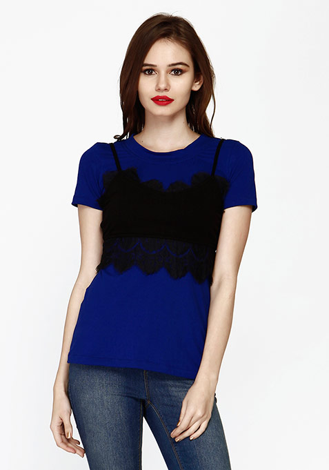 Lace Bralet Blue Tee