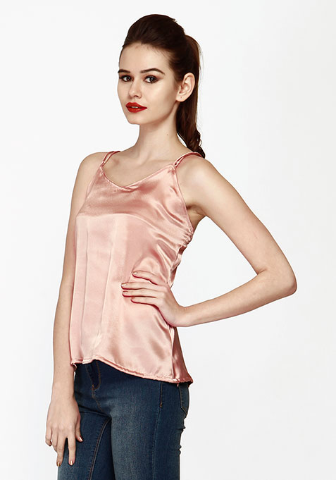 Cross My Back Cami - Pink