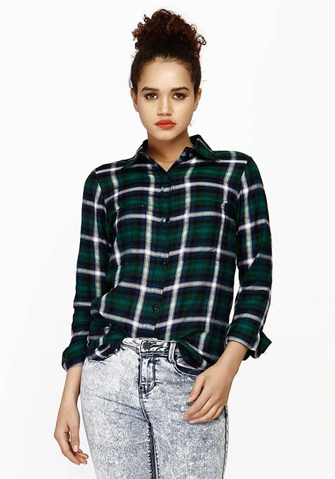 Tough Tartan Boyfriend Shirt - Green