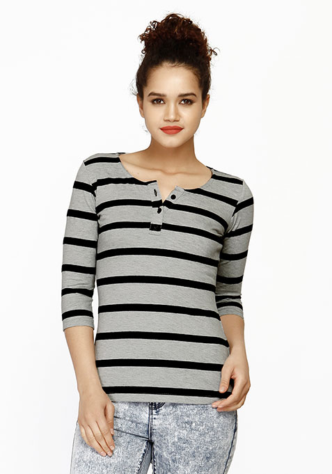Grey Striped Henley Tee
