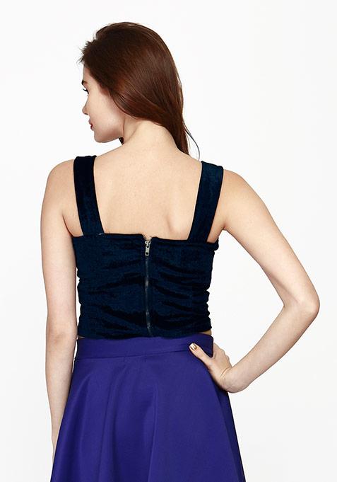 Lavish Velvet Crop Top - Blue