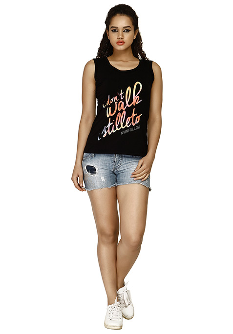 Step Up Unfollow Muscle Tee - Black