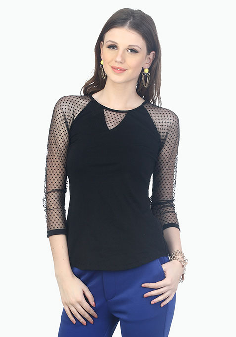 Dotted Peek A Boo Tee - Black