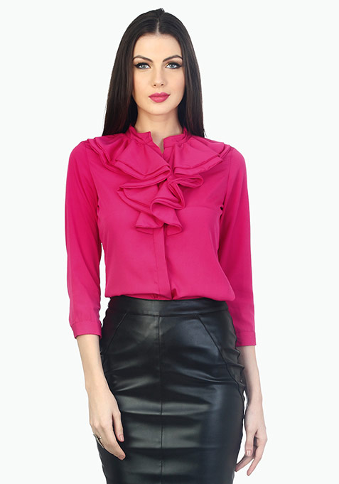 Ruffles Ahead Playful Shirt - Pink
