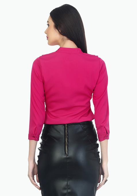 Ruffles Ahead Playful Shirt - Pink