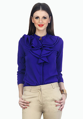 Ruffles Ahead Playful Shirt - Blue