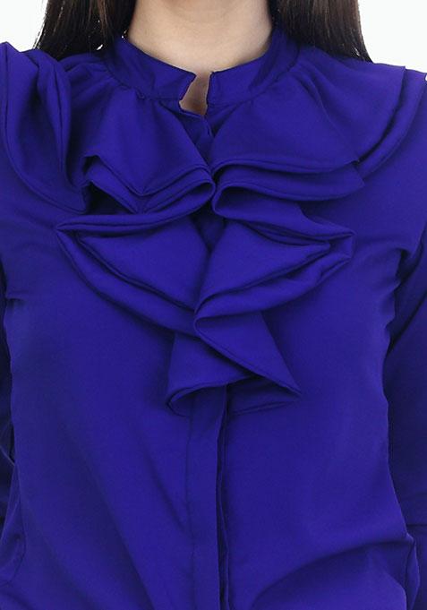Ruffles Ahead Playful Shirt - Blue