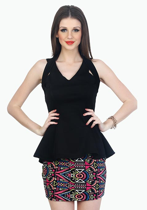 Halt Her Peplum Top - Black