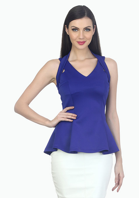 Halt Her Peplum Top - Blue