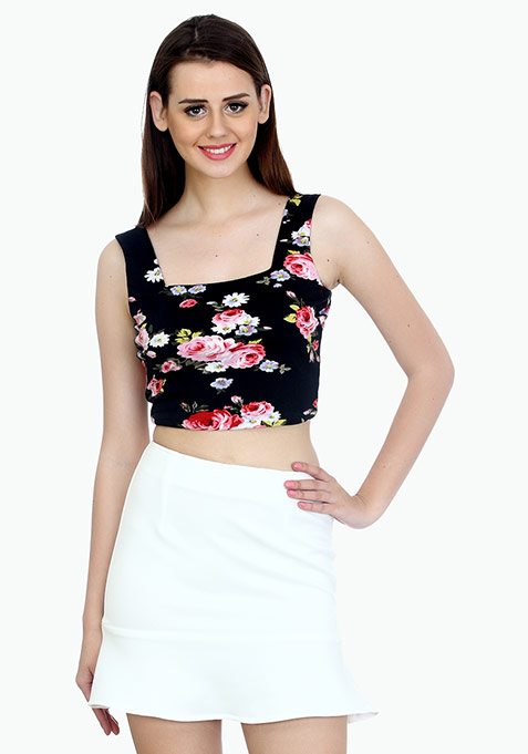 Bold Back Crop Top - Floral