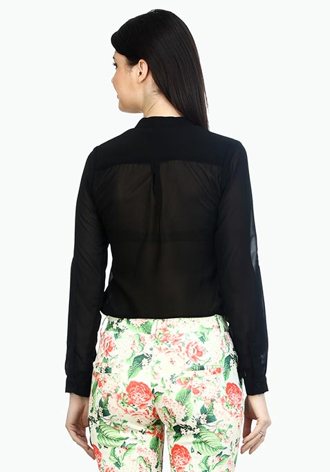 Double Pocketed Sheer Shirt - Black
