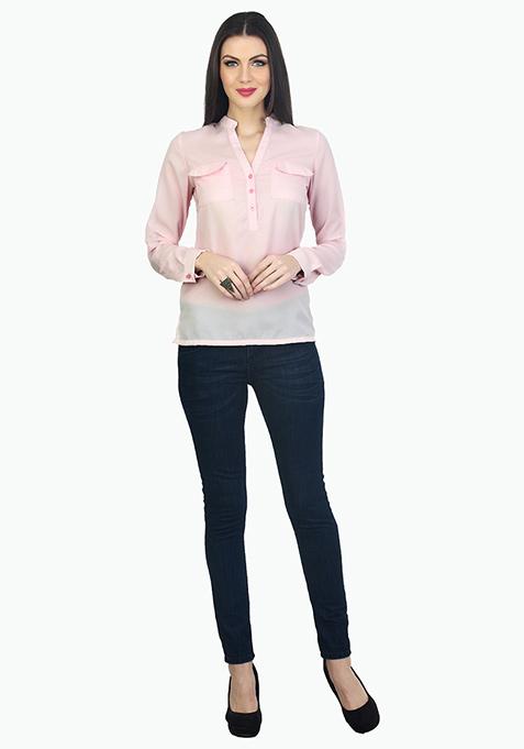 Double Pocketed Sheer Shirt - Blush
