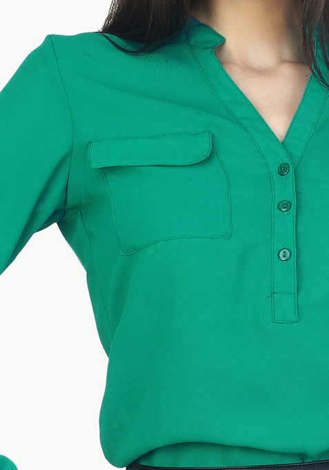 Double Pocketed Sheer Shirt - Green