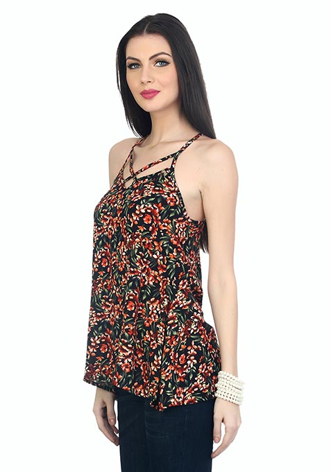 Cut It Cool Cami - Black Floral