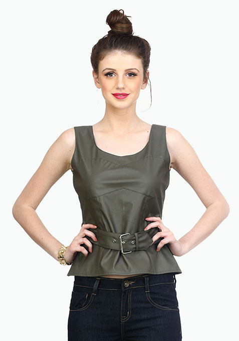 Bad Bish Leather Bustier - Grey