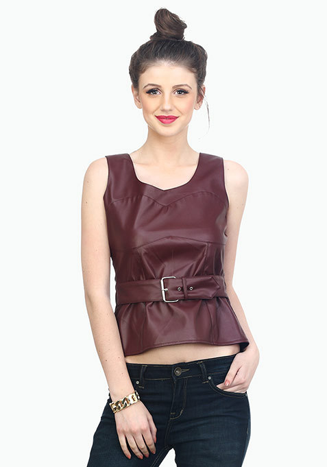 Bad Bish Leather Bustier - Marsala