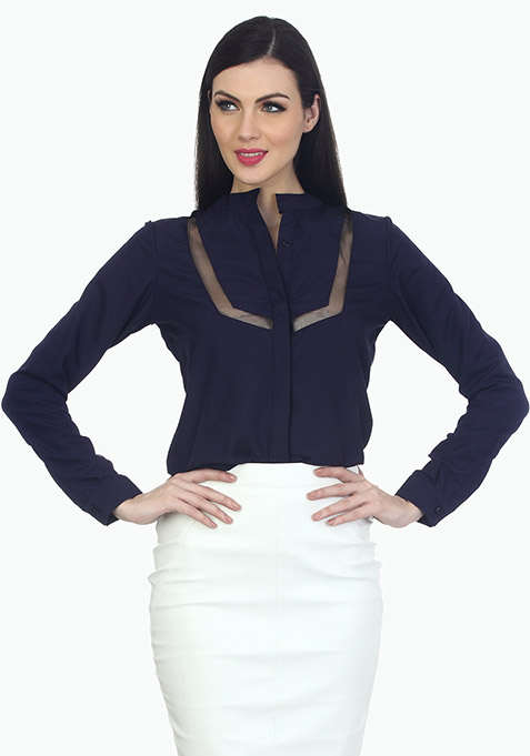 Mesh Trim Office Shirt - Navy