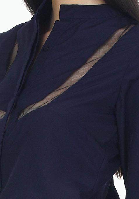 Mesh Trim Office Shirt - Navy