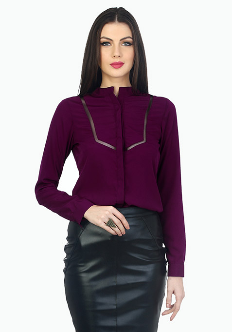 Mesh Trim Office Shirt - Purple