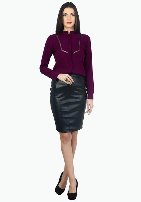 Mesh Trim Office Shirt - Purple
