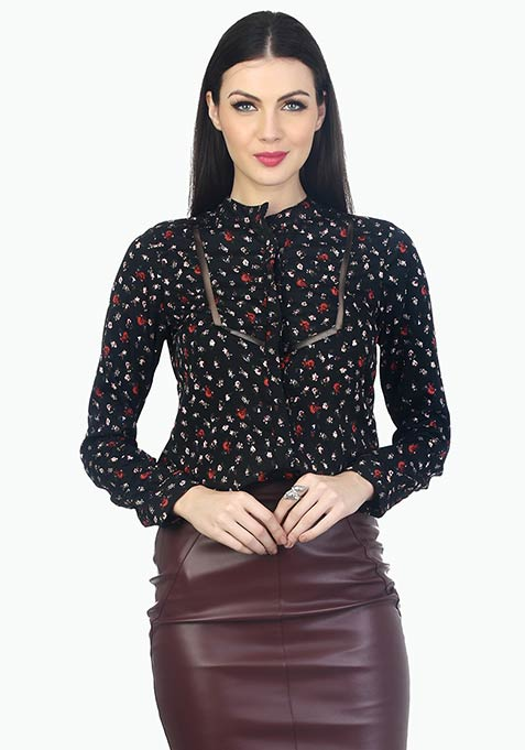 Mesh Trim Office Shirt - Floral