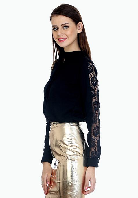 Lace Sleeves Sassy Shirt - Black