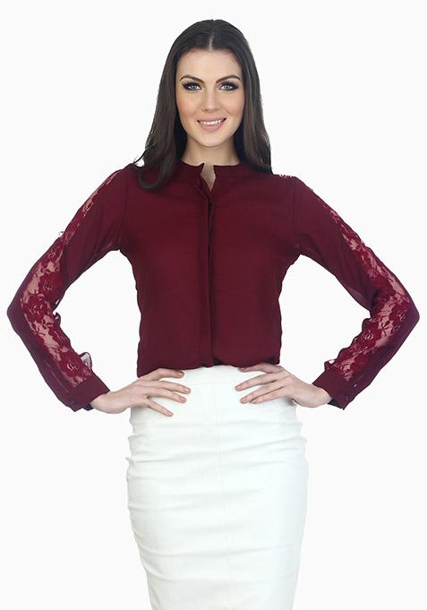 Lace Sleeves Sassy Shirt - Oxblood