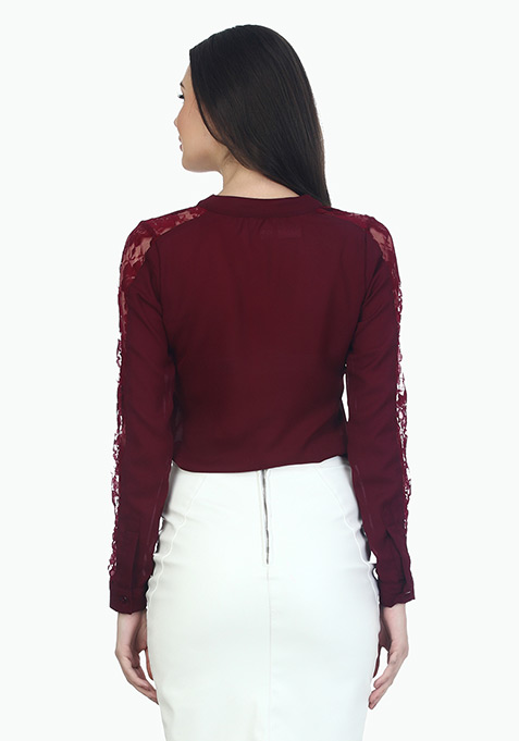 Lace Sleeves Sassy Shirt - Oxblood