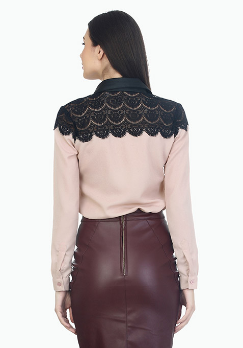 Lace Leather Formal Shirt - Blush