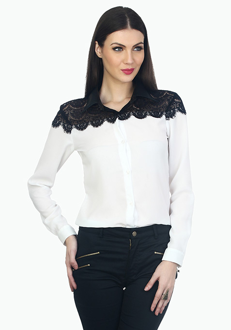 Lace Leather Formal Shirt - White