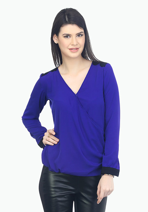 Wrap Around Lace Blouse - Blue
