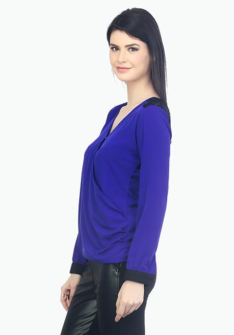 Wrap Around Lace Blouse - Blue