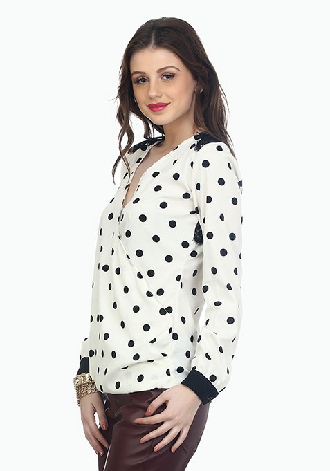Wrap Around Lace Blouse - Polka