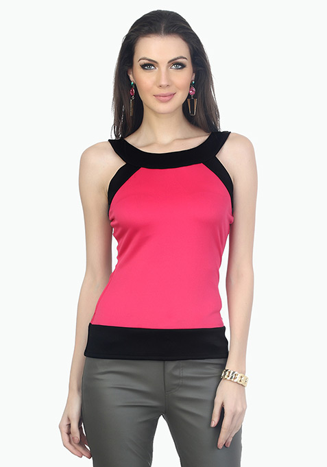 Colour Block Scuba Top - Pink