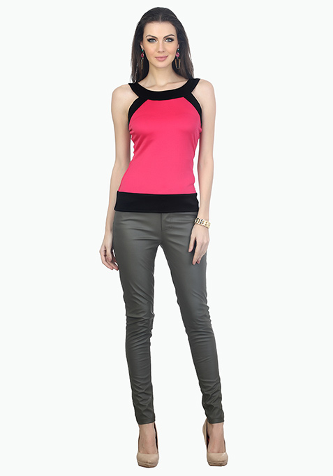 Colour Block Scuba Top - Pink