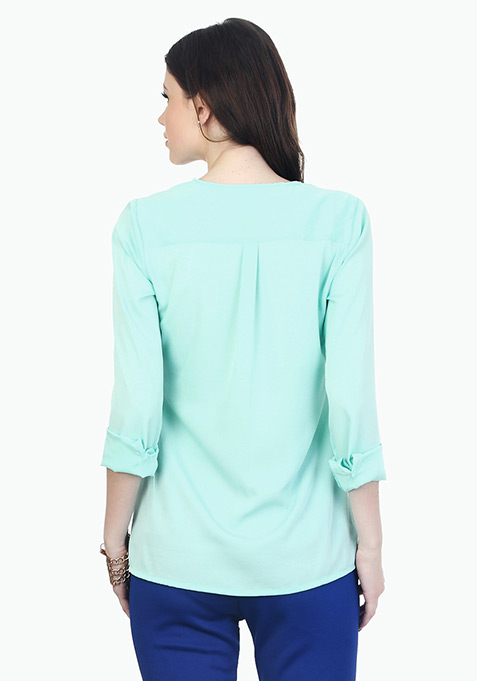 Split Neck Breazy Blouse - Mint
