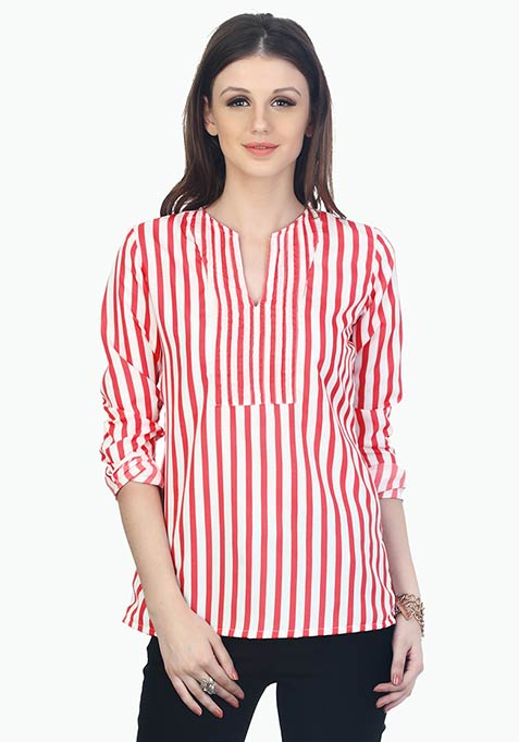 Split Neck Striped Blouse - Coral