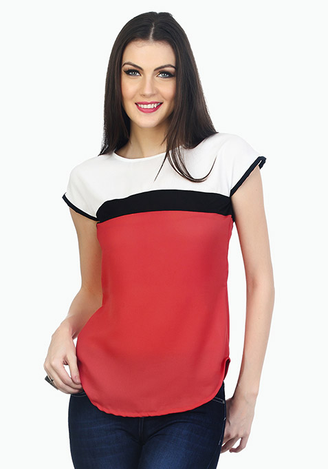 Trendy Colour Blocked Top - Coral