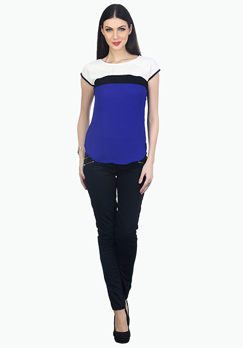 Trendy Colour Blocked Top - Blue